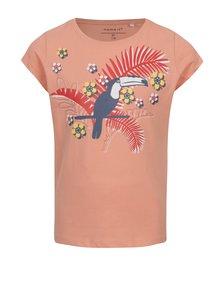Ružové dievčenské tričko s exotickou potlačou name it Veen