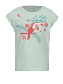 Svetlozelené dievčenské tričko s exotickou potlačou name it Veen