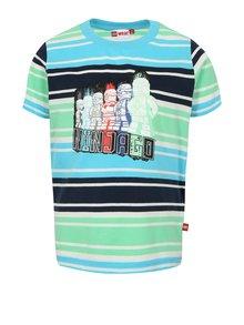 Zeleno-modré chlapčenské pruhované tričko s potlačou Lego Wear Thomas
