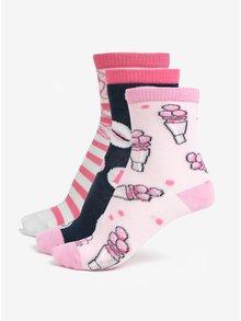 Bielo-ružová súprava troch párov dievčenských ponožiek Lego Wear Agata