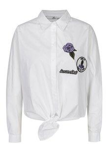 Biela košeľa na zaväzovanie s výšivkou SH Refente