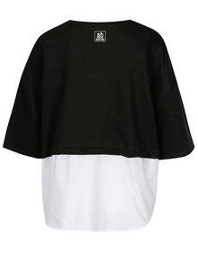 Černá mikina s krátkým rukávem a košilovou vsadkou SH Barriri