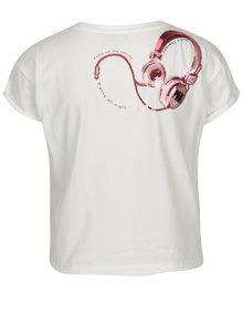 Biele skrátené tričko s potlačou a flitrami na chrbte SH Ibirama