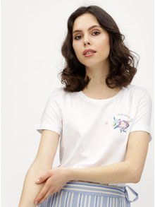 Tricou alb cu print si broderie florala VERO MODA Yoshi