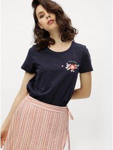 Tricou bleumarin cu print si broderie florala VERO MODA Yoshi