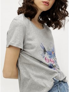Sivé melírované tričko s potlačou VERO MODA Yoshi