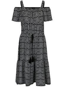 Bielo-čierne šaty s volánmi Yest