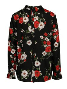 Bluza neagra cu print floral si nasturi la spate - SH Refente