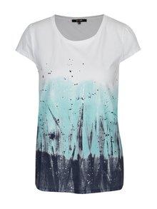 Tricou alb cu print abstract turcoaz - Yest