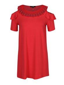 Červené tričko s prestrihmi na ramenách Yest
