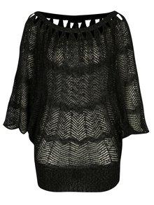 Pulover negru tricotat cu maneci liliac - Yest
