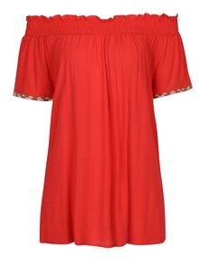 Bluza rosie cu decolteu amplu pe umeri - Yest