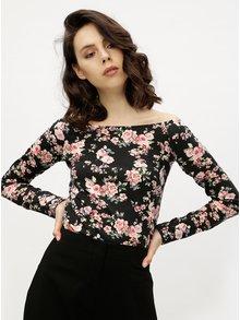 Bluza neagra cu decolteu barcuta si print floral -  Haily´s Estelle