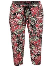 Zeleno-ružové vzorované ľanové 3/4 nohavice Yest