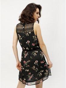 Rochie neagra cu print floral si curea in talie - Haily´s Jana