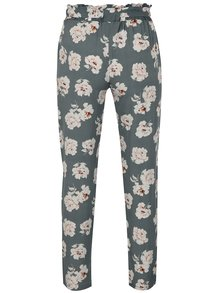 Pantaloni gri cu talie inalta si print floral - Haily´s Ronja