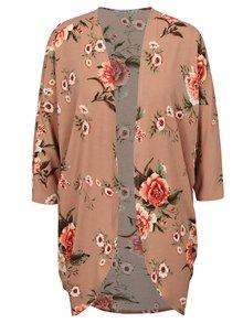 Cardigan roz prafuit cu print floral si maneci liliac  Haily's Dana