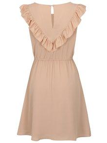 Starorůžové šaty s volánem ONLY Caroline