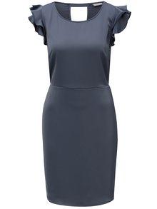 Tmavosivé šaty s volánmi a prestrihom na chrbte VILA Occasion
