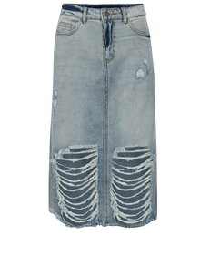Fusta midi din denim cu aspect deteriorat - Noisy May Paige