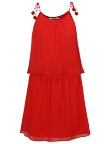Červené šaty s bambulemi ONLY Zoe