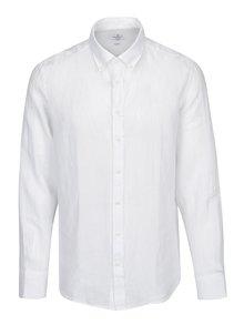 Bílá lněná slim fit košile Hackett London