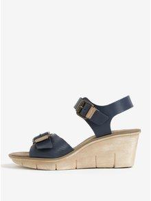 Sandale bleumarin din piele cu talpa wedge Weinbrenner