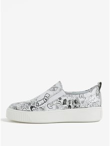 Pantofi slip on alb negru cu print pentru femei Weinbrenner