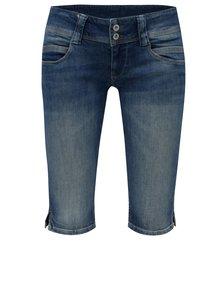 Tmavě modré dámské džínové straight kraťasy s nízkým pasem Pepe Jeans Venus crop