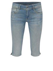 Modré dámske rifľové straight kraťasy Pepe Jeans Saturn crop