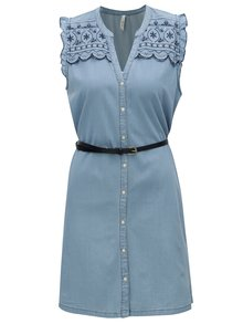Svetlomodré rifľové šaty s výšivkou Pepe Jeans Lura