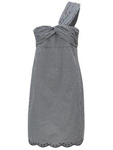 Čierno-biele kockované asymetrické šaty Pepe Jeans Chelo