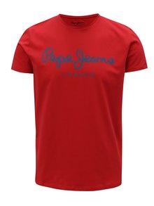 Červené pánske slim tričko s potlačou Pepe Jeans Original stretch