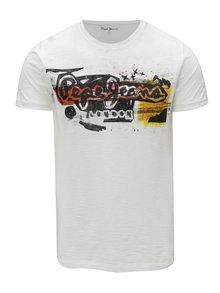 Tricou alb cu print logo barbatesc -  Pepe Jeans Amersham