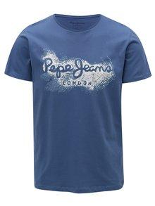 Tricou albastru cu print logo pentru barbati - Pepe Jeans Darren