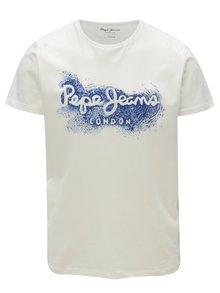 Tricou alb cu print logo pentru barbati - Pepe Jeans Darren