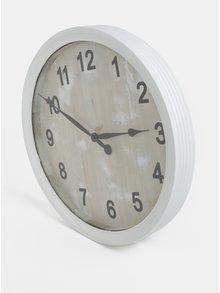 Bílé velké dřevěné hodiny Dakls
