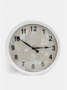 Biele veľké drevené hodiny Dakls