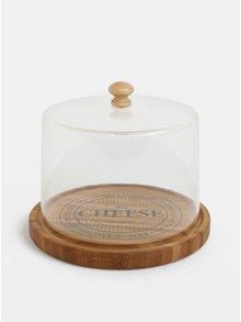 Hnedá malá bambusová doska na syr s poklopom Dakls