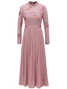 Rochie roz inchis cu fusta plisata Little Mistress