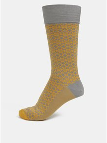 Sosete gri & mustac cu model pentru barbati - Happy Socks Dressed Aztec