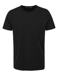 Tricou negru slim fit cu model Jack & Jones Clark