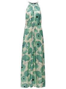 Rochie maxi crem & verde cu print floral si cordon - Pietro Filipi