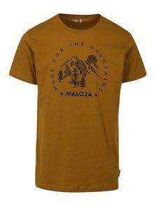 Horčicové pánske tričko s krátkym rukávom Maloja