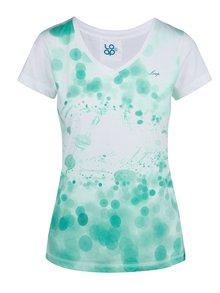 Zeleno-bílé dámské tričko s potiskem LOAP Byblosa