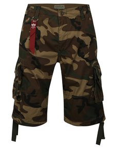 Pantaloni barbatesti scurti maro cu model camuflaj ALPHA INDUSTRIES