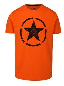 Oranžové pánské tričko s potiskem ALPHA INDUSTRIES