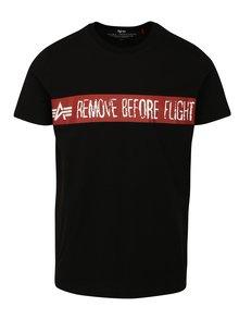 Černé pánské tričko s potiskem ALPHA INDUSTRIES