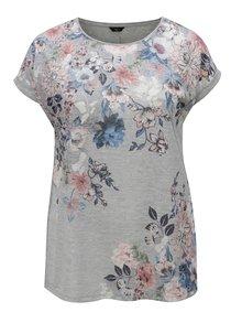 Svetlosivé trblietavé dámske tričko s kvietkovaným vzorom M&Co