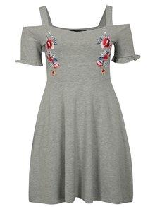 Sivé melírované šaty s odhalenými ramenami Dorothy Perkins